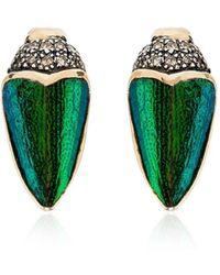 Bibi Van Der Velden 18kt Gold Scarab Wings Diamond Earrings - Metallic