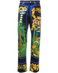 Versace Jogginghose mit barockem Print - Blau
