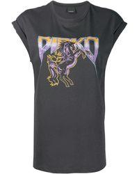 Pinko Camiseta con logo estampado - Negro