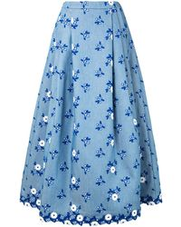 Andrew Gn Floral-embroidered Midi Skirt - Blue
