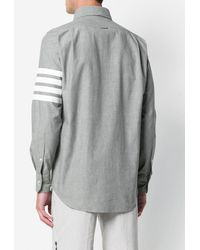 Thom Browne 4-Bar Straight-Fit Chambray Shirt - Gris