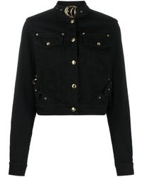 Versace Jeans Buckled Collar Cropped Jacket - Black