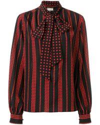 24cf5b8903d723 Lyst - Saint Laurent - Leopard Print Blouse - Women - Silk - 38 in Brown