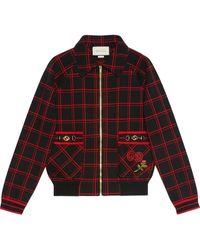 Gucci チェック ボンバージャケット - ブラック