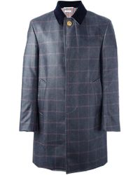 Thom Browne - Checked Ball Collar Overcoat - Lyst