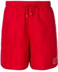 EA7 Short de bain à logo imprimé - Rouge