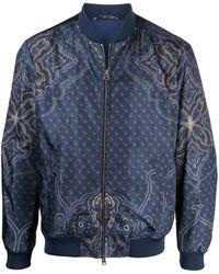 Etro ペイズリー ボンバージャケット - ブルー