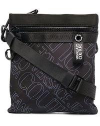 Versace Jeans Couture Logo Print Messenger Bag - Black