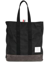 Thom Browne Unstructured Tote Bag In Nylon And Suede - Zwart