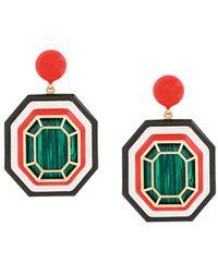 Nevernot Farfetch Exclusive 18kt Yellow Gold Geometric Drop Earrings - Green