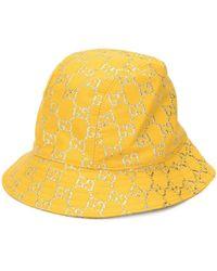Gucci Панама Из Ткани Ламе С Узором GG Supeme - Желтый