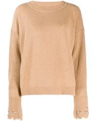 Pinko Jersey con mangas con apliques - Marrón