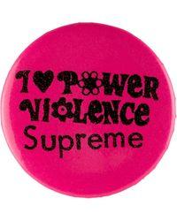 Supreme I Love Power Violence ピンバッジ - ピンク