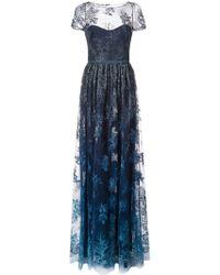 Marchesa notte - Robe longue à fleurs brodées - Lyst