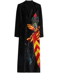 Yohji Yamamoto Fluwelen Jas - Zwart