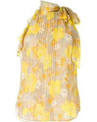 Veronica Beard Pleated Floral Bow Halterneck Top - Yellow