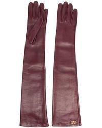 Valentino Vロゴ 手袋 - パープル