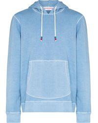 Orlebar Brown Vero Cotton-linen Blend Drawstring Hoodie - Blue