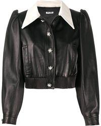 Miu Miu Balloon-sleeves Cropped Jacket - Black
