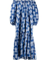 La DoubleJ Paloma Pineapple-print Dress - Blue