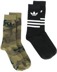 adidas Set di due calzini Trefoil Mid-Cut Crew - Nero