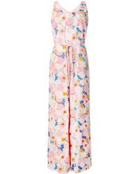 STAUD - Abstract Peach Blossom Jumpsuit - Lyst