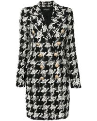 Balmain - Double-breasted Hound's-tooth Check Coat - Lyst