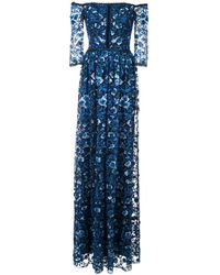 Marchesa notte Off-the-shoulder Floral-print Gown - Blauw