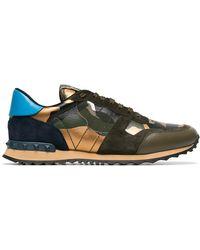 7d7437bd7fe Valentino - Khaki Rockstud Camouflage Sneakers - Lyst