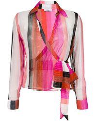 Amir Slama Silk Wrap Blouse - Многоцветный