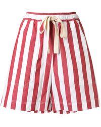 Lee Mathews Striped Print Wide Leg Shorts - Red