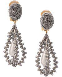Oscar de la Renta Embroidered Earrings - Metallic