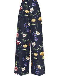 Oscar de la Renta Floral-print Wide Trousers - Black