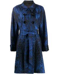 Talbot Runhof Belted Jacquard Coat - Blue