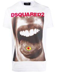 DSquared² T-shirt Met Print - Wit