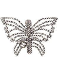 Gucci Декорированная Брошь В Виде Бабочки - Металлик