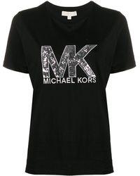 MICHAEL Michael Kors T-shirt Met Logo Van Pailletten - Zwart