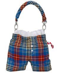 CHARLES JEFFREY LOVERBOY Shorts-design Plaid Tote - ブルー