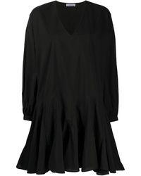 Anine Bing Расклешенное Платье С V-образным Вырезом - Черный