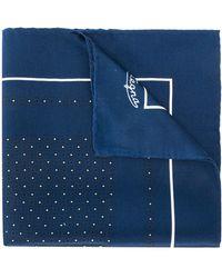 Ermenegildo Zegna Foulard de poche en soie à pois - Bleu