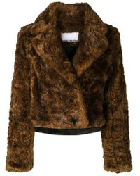 Paco Rabanne Double-breasted Faux Fur Coat Brown
