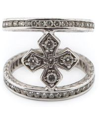 Loree Rodkin | Mini Halo Princess Cross Diamond Mid Finger Ring | Lyst