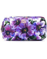 Dolce & Gabbana Floral-print Makeup Bag - Purple