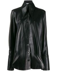 16Arlington Stitching Detail Leather Shirt - Black