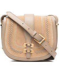 Alberta Ferretti Albi Stitched Leather Satchel - Brown