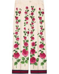 Gucci - Rose Garden Print Silk Pyjama Trousers - Lyst 8b007d629
