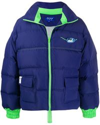 ADER error - Navy Blue Down Jacket With Green Details And Front Flap Pockets, Closed By Zip. - Lyst
