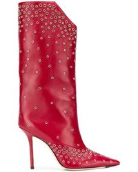 Jimmy Choo Bryndis 100 Studded Boots - Red