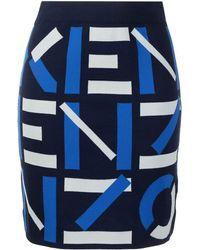 KENZO ロゴ ニットスカート - ブルー