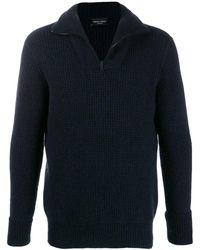 Roberto Collina Half-zip Knit Sweater - Blue